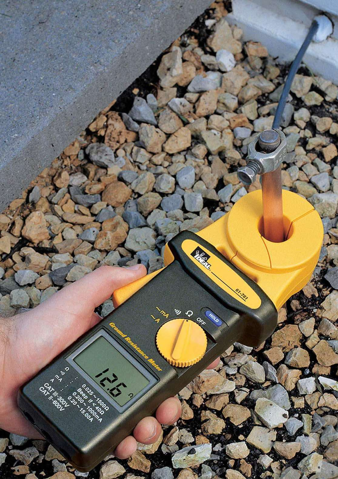 Ground Resistance Test : Ideal clamp enables readings of ground resistance without