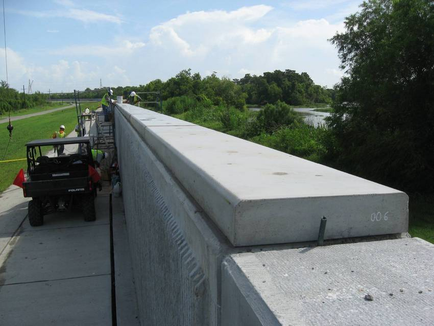 Cement Wall Caps : Leesburg concrete produces floodwall wall caps for the u s