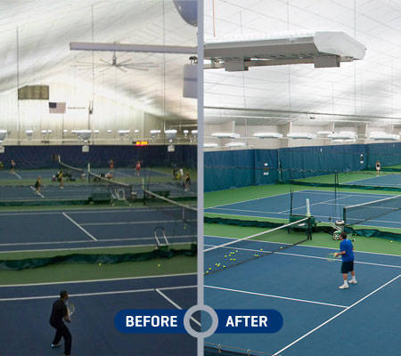 P2 Fixtures Bring Brighter Lights And Energy Savings To Indoor Tennis Courts