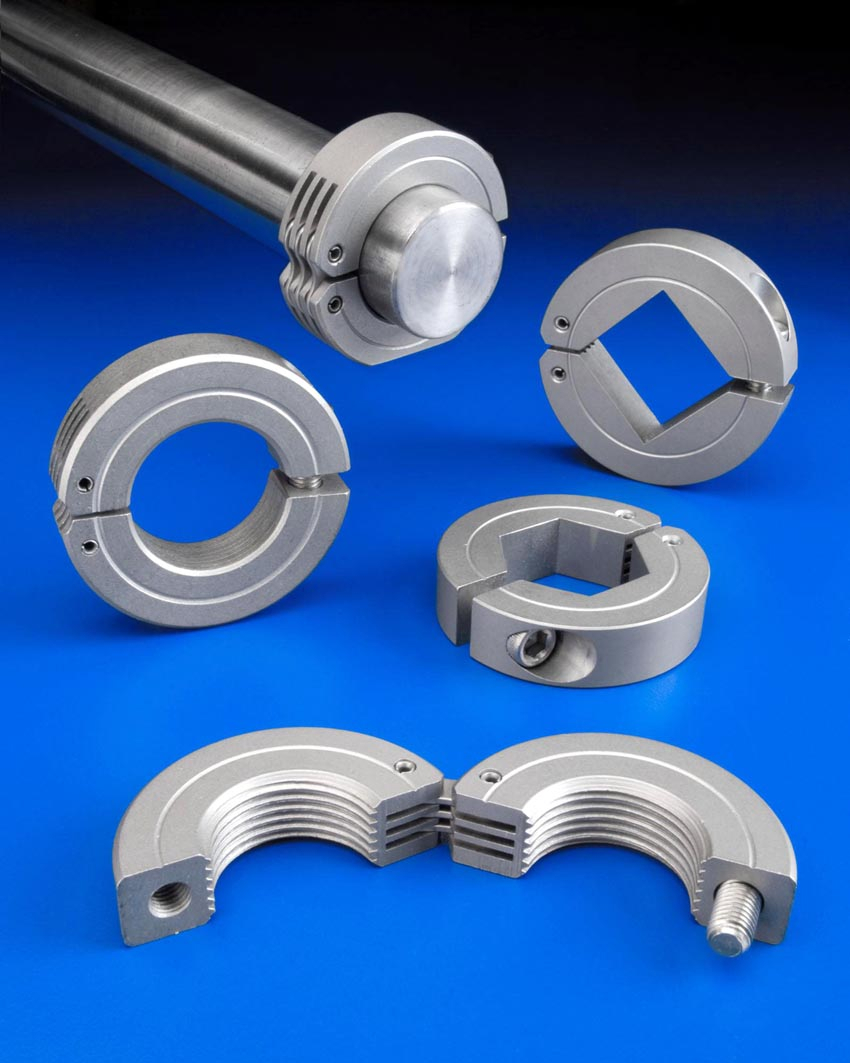 Hinged shaft collars bores mate to different shafts