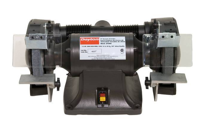 the smooth quiet power of the dayton industrial bench grinder