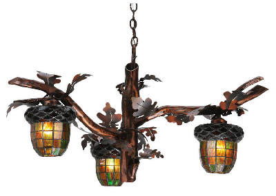 Decorative Chandelier features acorn branch design., Meyda Tiffany
