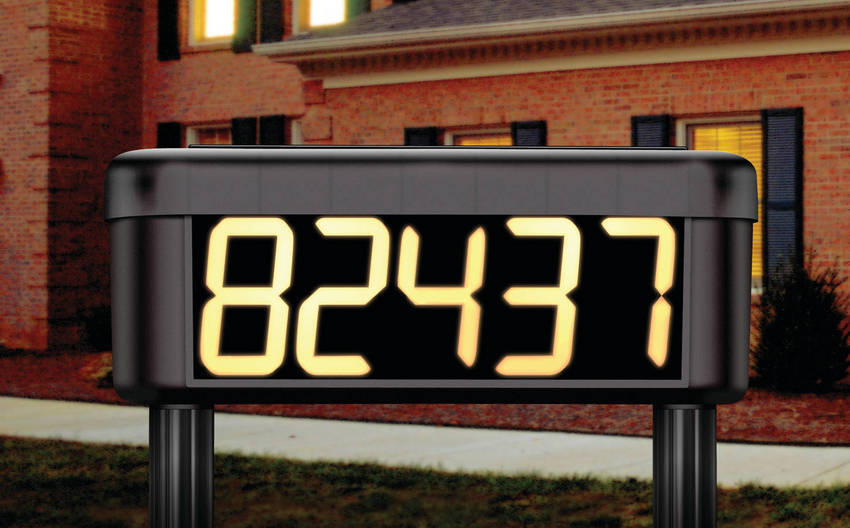 solar powered lighted house number. Black Bedroom Furniture Sets. Home Design Ideas