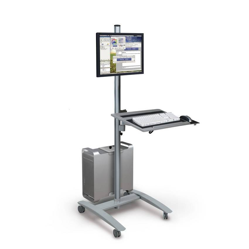 the new 27614 flat panel display monitor cart features a monitor mount keyboard shelf and cpu. Black Bedroom Furniture Sets. Home Design Ideas