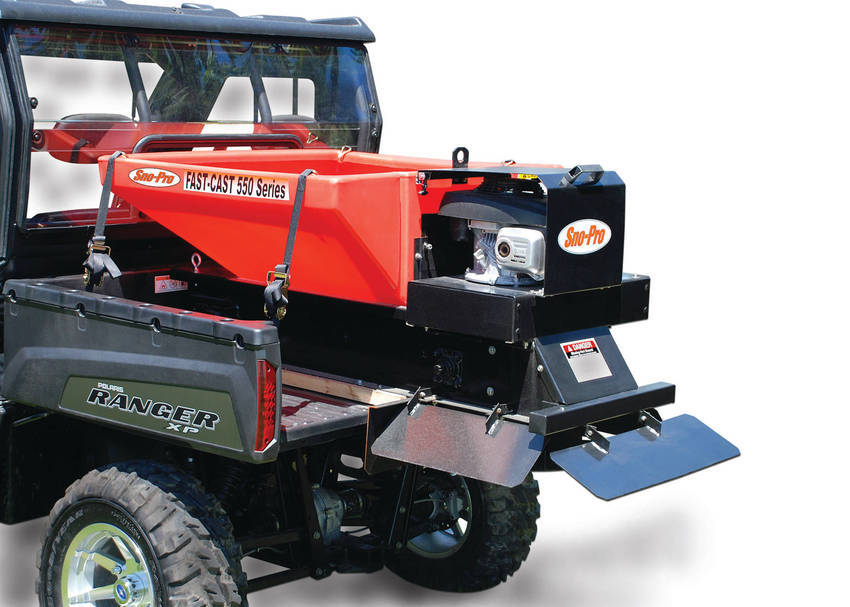 Of fast cast 550 v box spreader for small pick up trucks and utvs