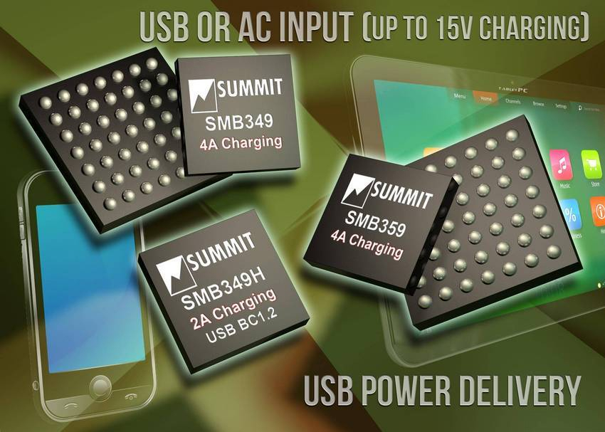 Summit Microelectronics announced the SMB349 and SMB359 integrated circuits, which are 4A Li-Ion battery charger...