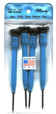 Torx Driver Set includes T-1, T-2, T-3, and T-4 sizes.
