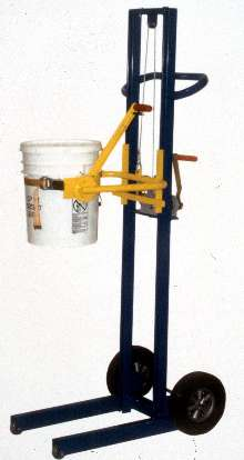 Pail Dumper safely moves, lifts, and rotates pails.