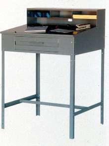Shop Desk provides writing surface and storage drawer.