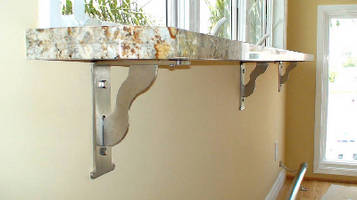 Countertop Brackets support 1,000+ lb per pair.