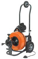 Power Drain Cleaner includes stair climbers to ease transport.