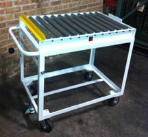 Conveyor Transfer Cart includes adjustable safety stop.