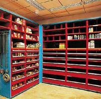 Custom Shelving Systems store power transmission components.