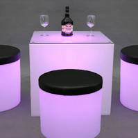 Lightable Cylinders offer retail display and seating solutions.