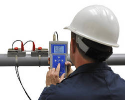 Ultrasonic Flow Meter measures flow from outside pipe.