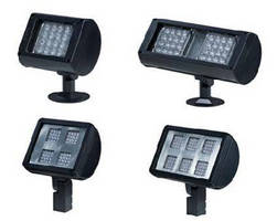 Weatherproof LED Flood Lights feature interchangeable optics.