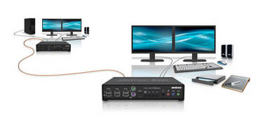 Dual Video Fiber-Optic KVM Extender features USB 2.0 support.