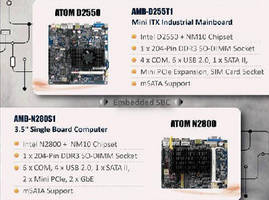 Embedded SBCs feature Intel Atom processors.