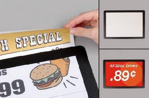 Sign Holder displays graphics on flat surfaces.