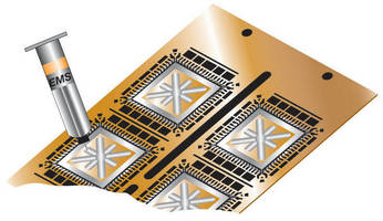 Conductive Adhesive bonds components to circuit boards.