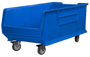 large plastic storage bins accommodate casters for mobility