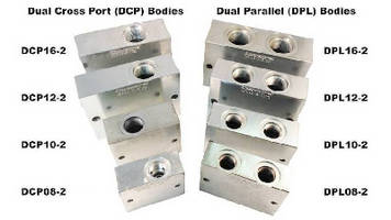 Hydraulic Valve Bodies accept  two 2-way cartridges.