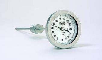 Bimetal Thermometers feature 316SS case, fitting, and stem.