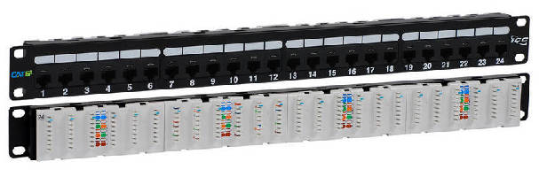 CAT 6A Patch Panel features 110-Type IDC terminals on rear.