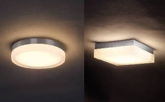 LED Luminaires mount as ceiling fixture or wall sconce.