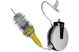LED Hand Lamp includes 30 ft of cord on retractable reel.