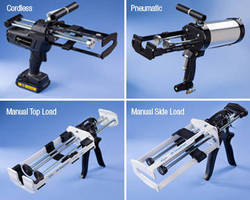 Manual, Pneumatic, Cordless Guns dispense 2-component adhesives.