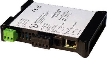 Ethernet-to-RS485 Converter mounts on DIN rail.