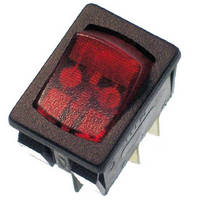 Miniature Momentary Rocker Switch features LED illumination.