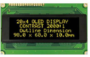 White Character OLED Display suits battery-operated applications.