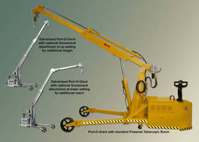 Portable Crane supports adjustable goose-neck boom attachment.