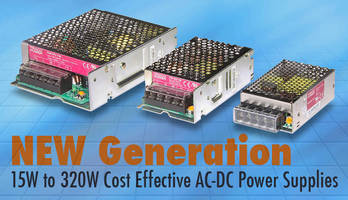 AC/DC Power Supplies (15-320 W) come in metal enclosure.