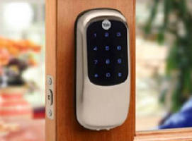 Touchscreen Deadbolt eliminates cylinder.