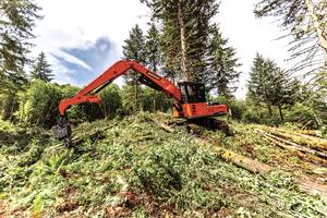 DX380LL-5 Log Loader features 360-degree rotating log grapples.