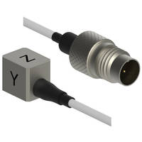 3493A Series IEPE Triaxial Accelerometers are housed in titanium case.