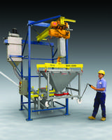 Intermediate Bulk Container Discharger features butterfly discharge valve.