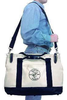 Canvas Tool Bags have multiple pockets and shoulder strap.