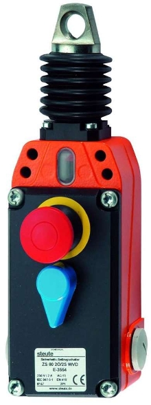 Emergency Cable-Pull Switch has integral E-stop pushbutton.