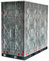 Container securely transports and stores large quantities.
