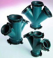 Corrosive Waste Piping Systems use molded 45� Wye fittings.