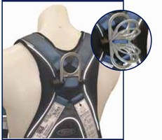 Harnesses utilize stand-up D-ring for safe connections.