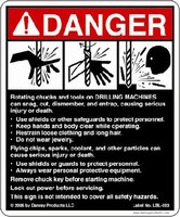 Safety Sign warns of drilling machine hazards.