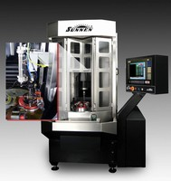 Vertical CNC Honing Machine integrates air-gauging system.