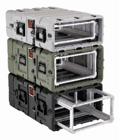 Electronic Equipment Case offers removable rack option.
