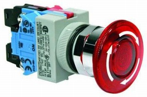 Lighted Emergency-Stop Switches suit poorly lit areas.