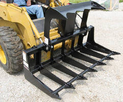 Skid Steer Tine Grapple features universal attaching system.